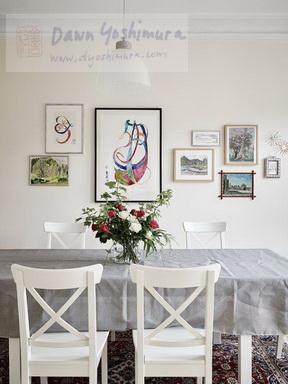 DIning Room w/paintings by Dawn Yoshimura